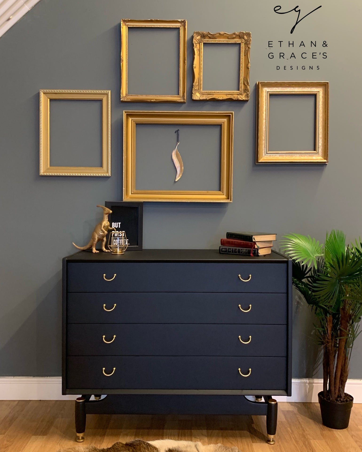 Image of Black & Gold G Plan Tola chest of drawers