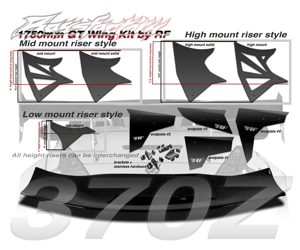 Image of Nissan 370Z Z34 Raysfactory 1750mm FRP GT Wing Kit