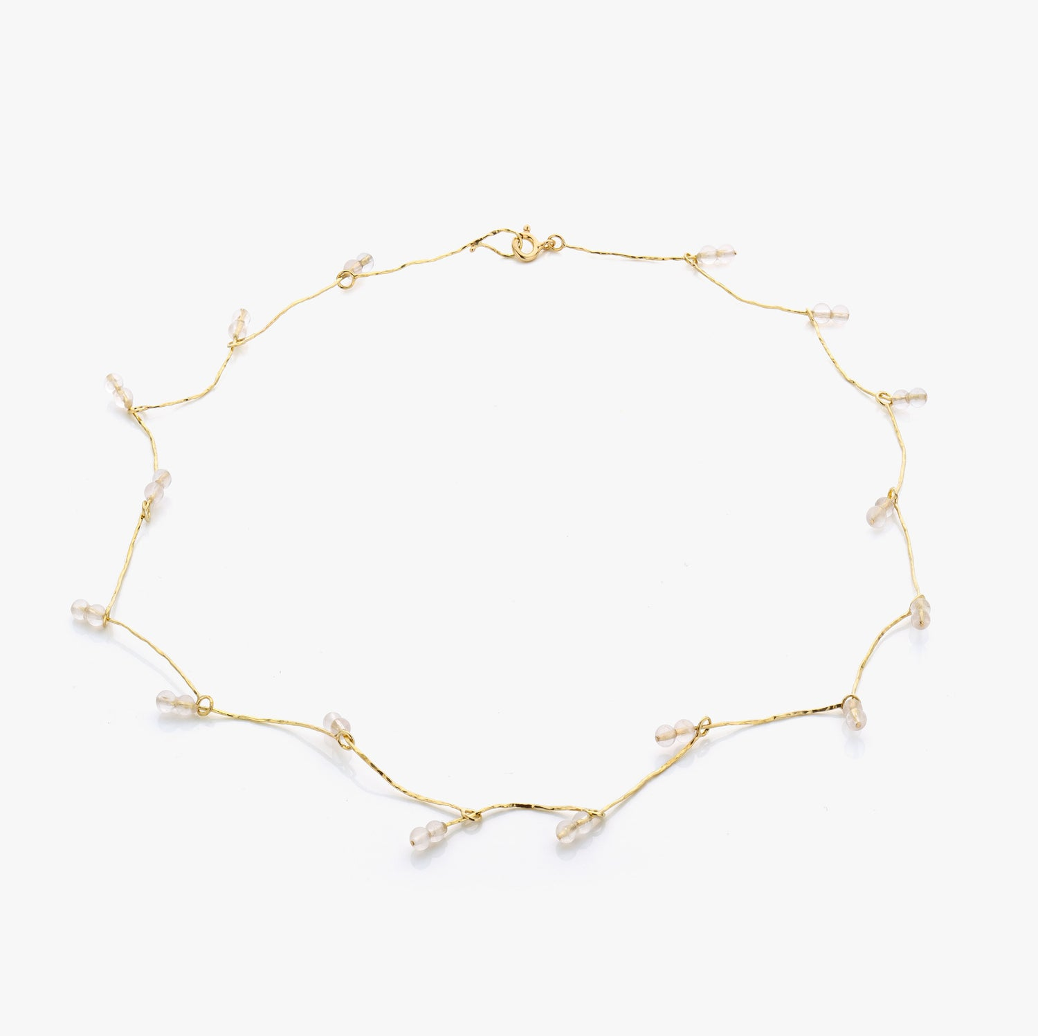 Image of necklace in gold and rosequartz - ketting in goud en rozenkwarts