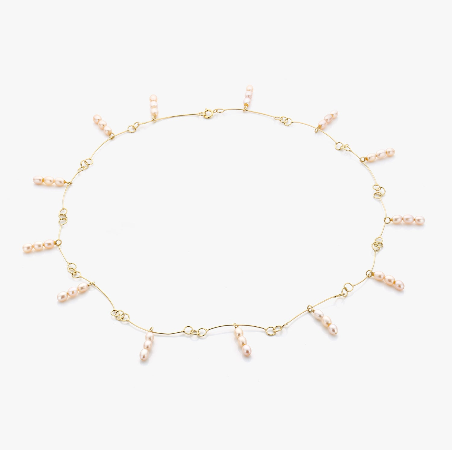 Image of necklace in gold and pink pearls - ketting in goud en parels