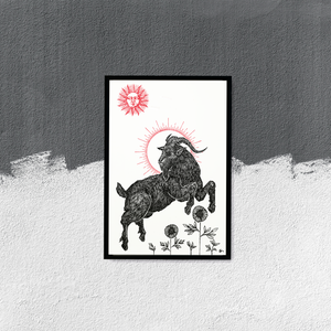 """Image of LIMITED EDITION RUN OF 10, """"The Black Goat"""", 12""""x18"""" Watercolor"""
