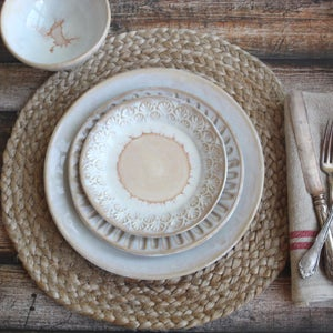 Image of Handmade Dinnerware Set - Rustic Pottery White Ceramic Plates, Made in USA