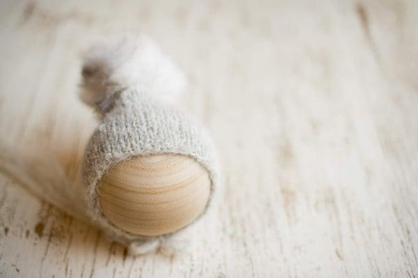 Image of Light Grey Pixie faux fur bonnet