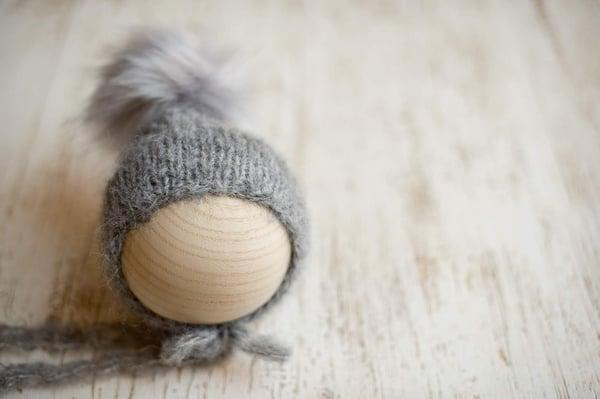 Image of Medium Grey pixie faux fur Pom bonnet