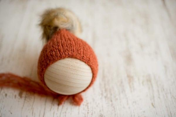 Image of Pumpkin pixie faux fur Pom bonnet