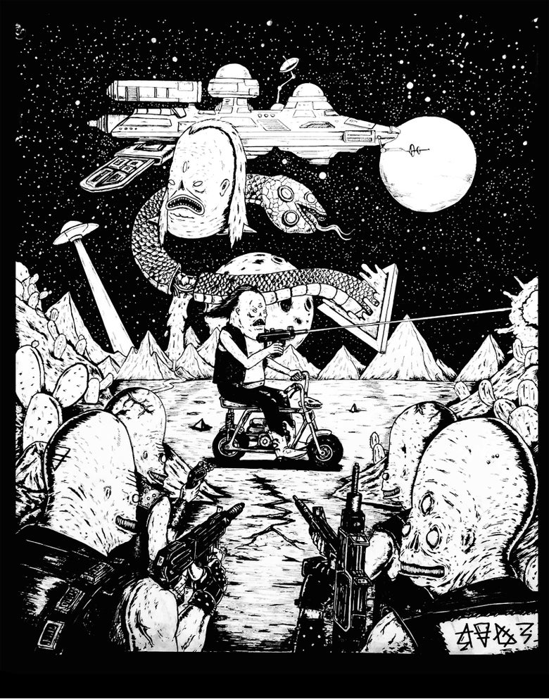 Image of Radbiker Space Battle 11X14 Print