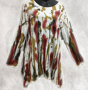 Image of Swing Top - Cotton Jersey -  Hand Painted - Happy Design - size S-M