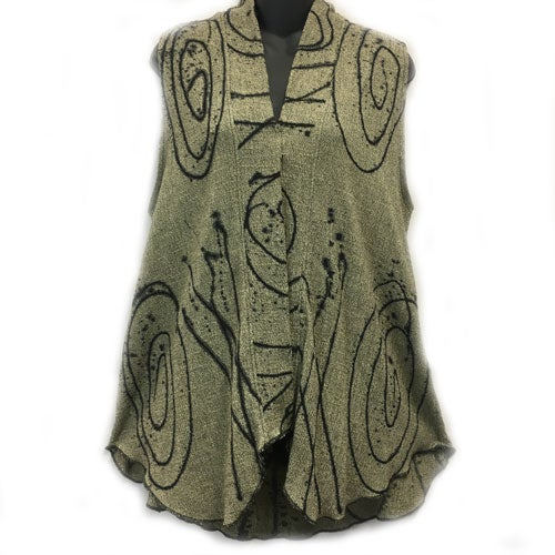 Image of Shawl collar Vest - eco-friendly rayon - hand painted Exuberance design