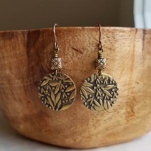 Image of Bronze Leaf Textured Earrings