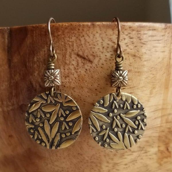 Image of Bronze Leaf Textured Earrings