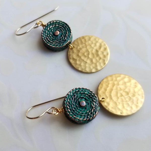 Image of Hammered Brass Coin Earrings