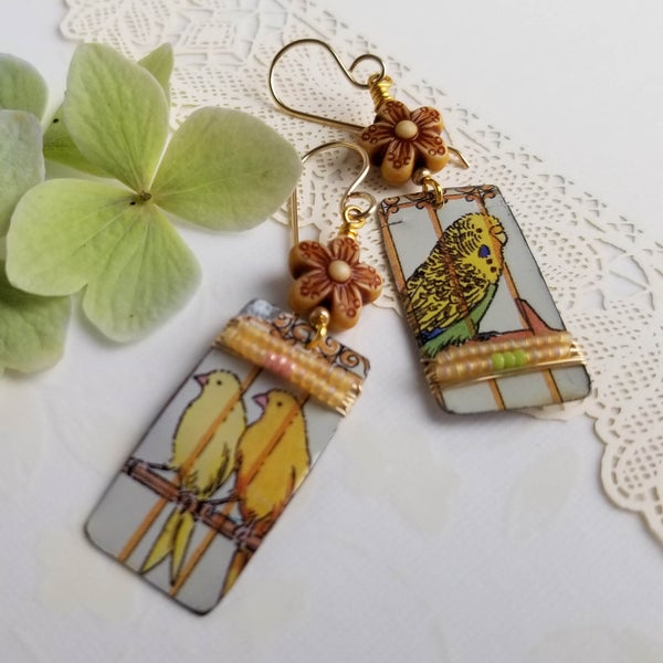 Image of Caged Parakeet Earrings (One-of-a-Kind)