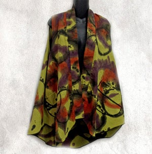 Image of Shawl Collar vest - hand painted Energy Design - Cotton/Linen