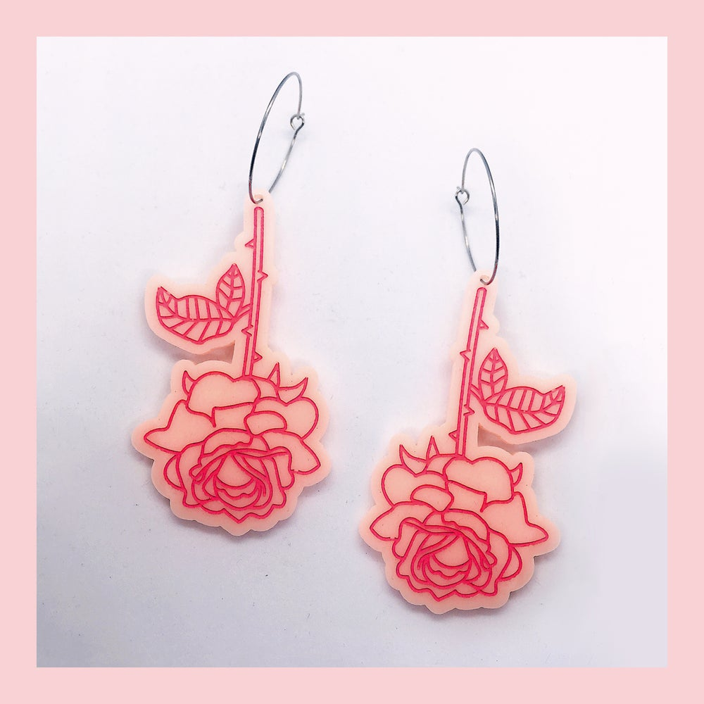 Image of In The Rose Garden - Rose Hoops (Peach-Pink)