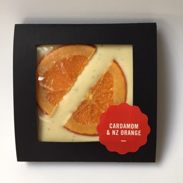 Image of Decorated Blocks - Cardamom and New Zealand Orange - White Chocolate