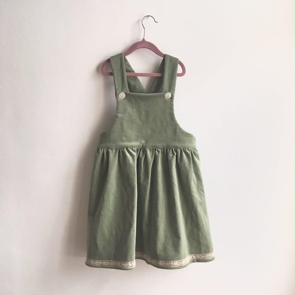 Image of Pinafore Dress-pale green corduroy