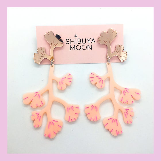 Image of Maiden Hair Fern Dangles (Rose Gold/Peach-Pink)