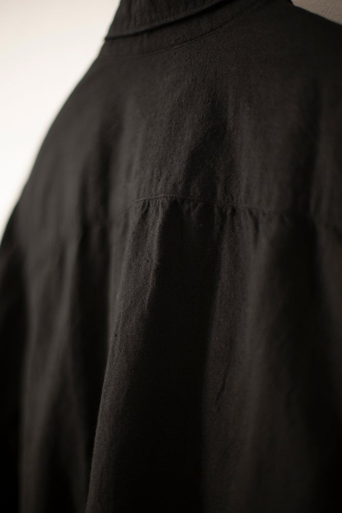 Image of BLACK SHIRT by MITTAN IN HANDWOVEN KHADI COTTON