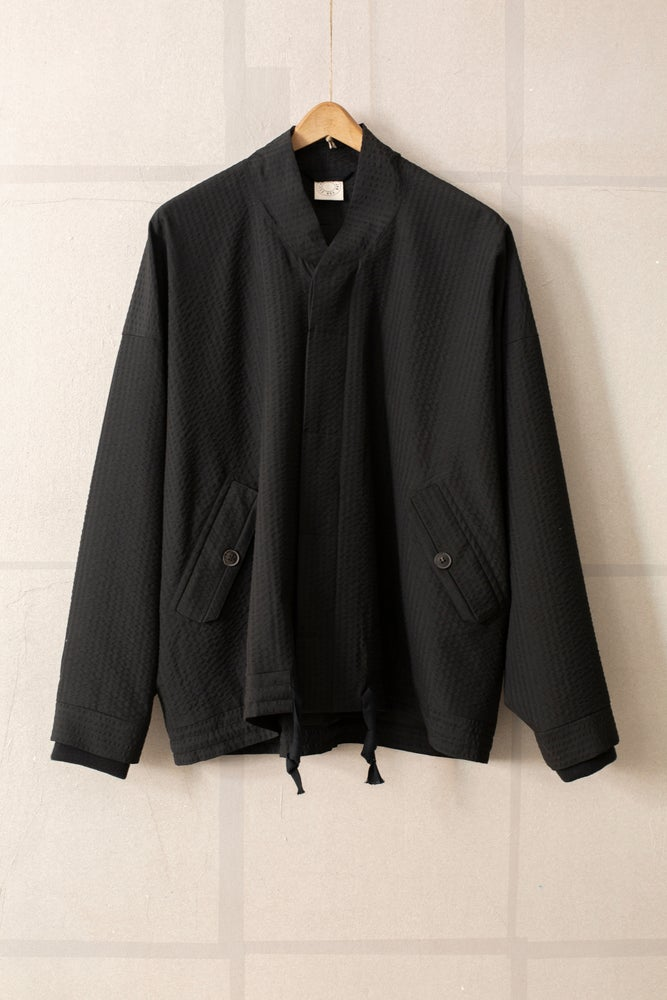 Image of JACKET#35 - BLACK STRUCTURED STRIPE WOOL by Jan-Jan Van Essche