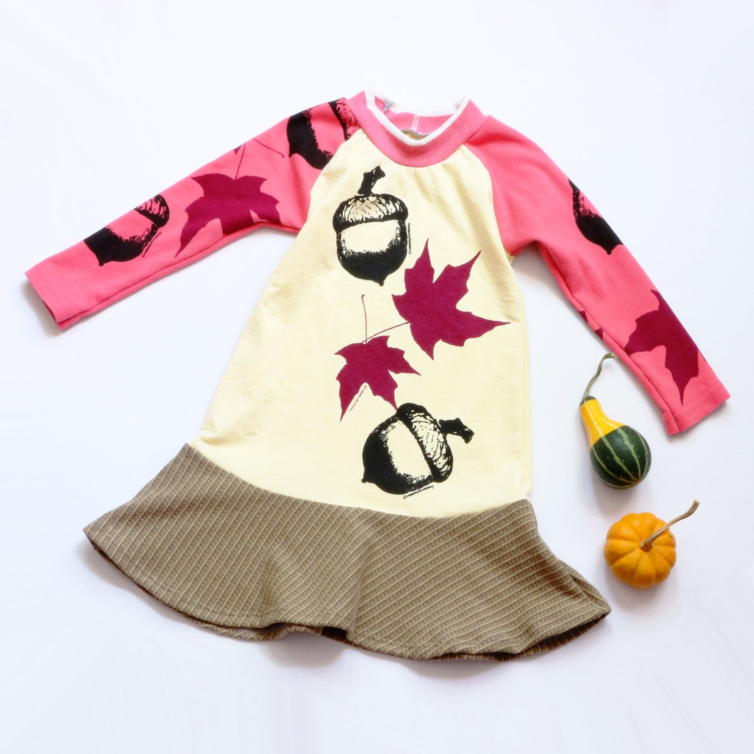 Image of pink sky autumn 4T yellow fall falltime acorn maple leaf leaves handprinted courtneycourtney dress