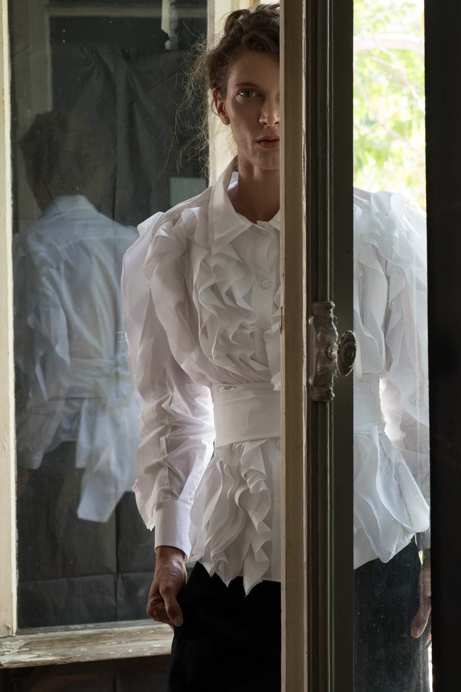 Image of White shirt with ruffles
