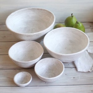 Image of Rustic Modern Set of Nesting Bowls in White Matte Glaze Speckled Pottery Made in USA