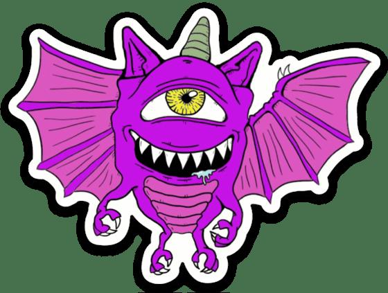 Image of purple people eater sticker