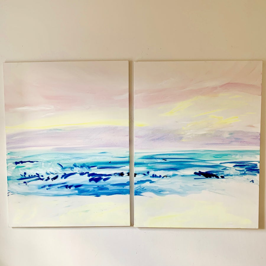 "Image of Montauk Pastel Sunset, 30""x40"" x 2 paintings"