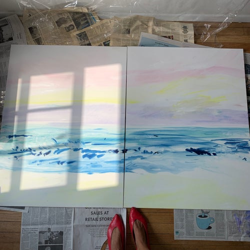 "Image of Montauk Pastel Sunset, 30""x40""x2 (diptych, sold as a pair)"