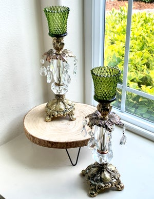 Image of Pair of Emerald Vintage  Candlestands