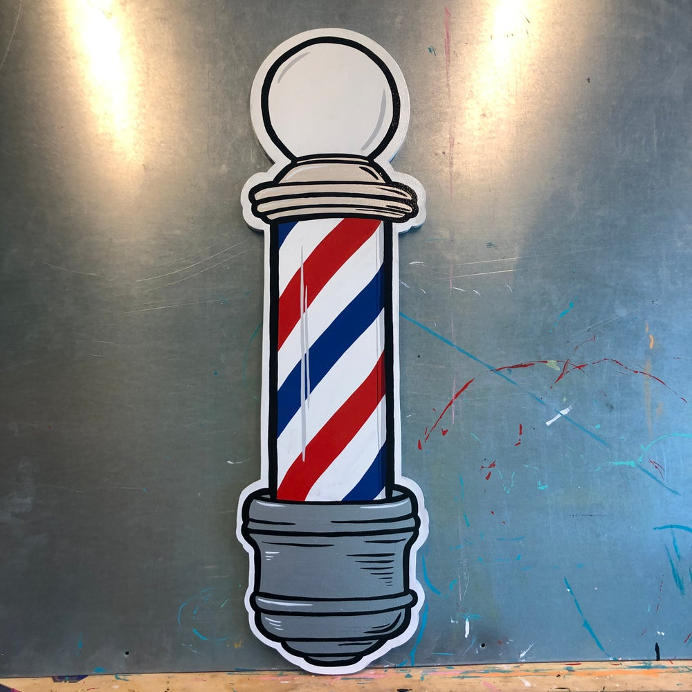 Image of Barber Pole- Hand Painted Sign