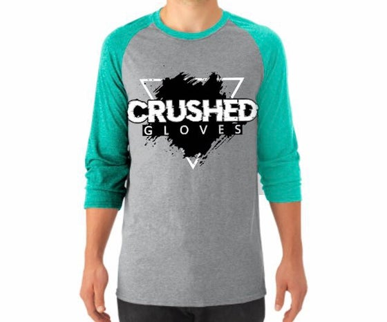 Image of Grey and Mint Crushed Gloves Raglan Shirt