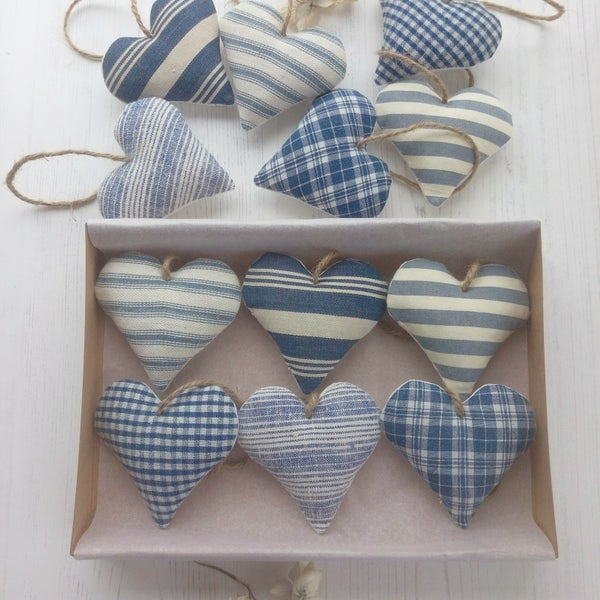 Image of Set of Six Ticking Hearts - Blue