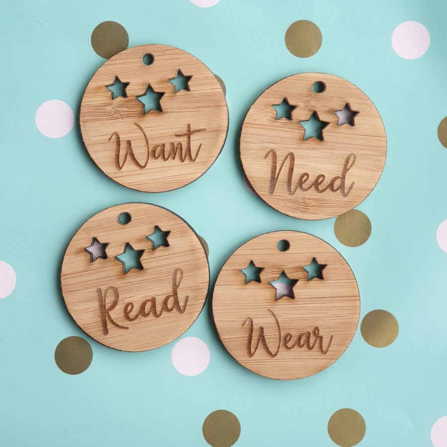 Image of Want, Need, Read & Wear gift tags