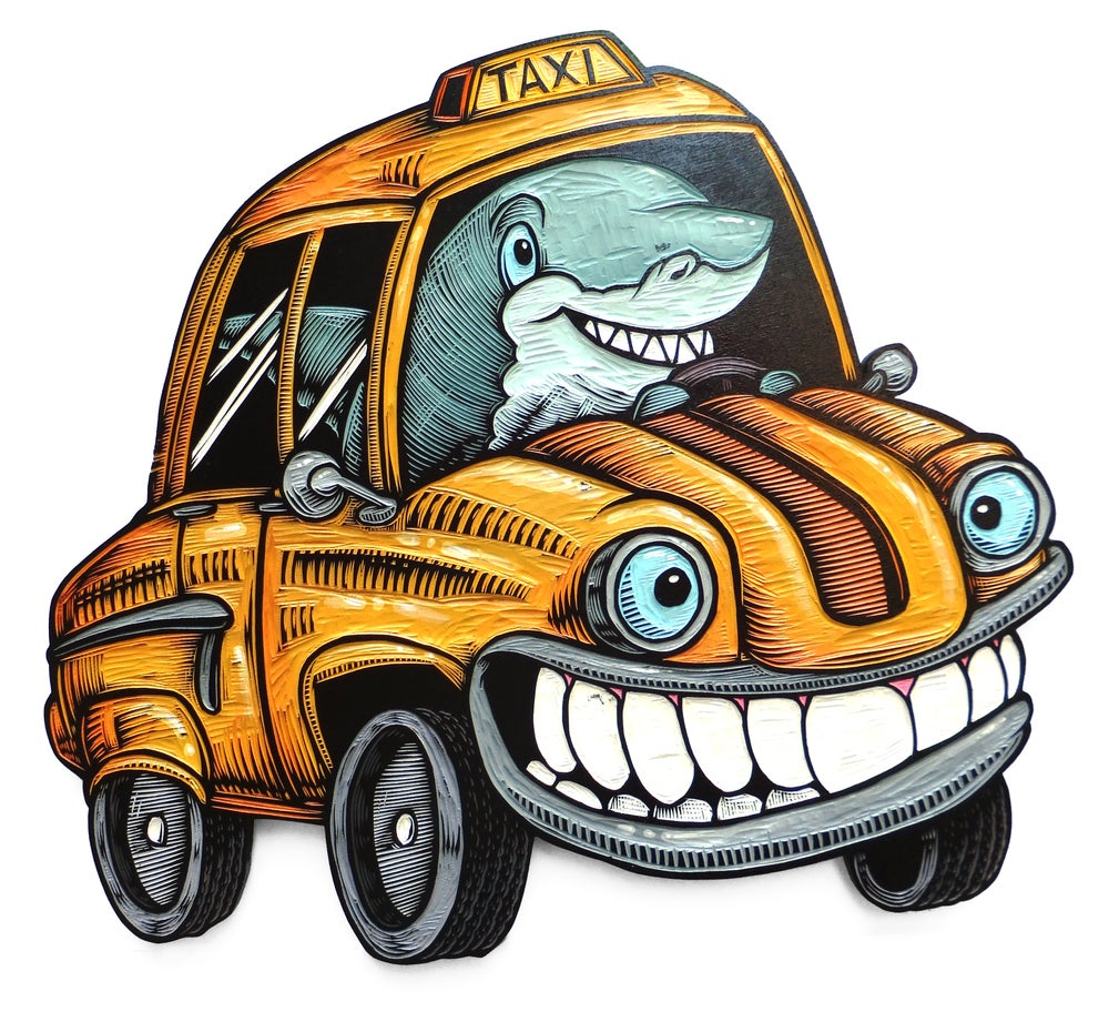 Image of Shark Taxi Carving **FREE SHIPPING**