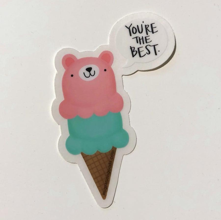 Image of BEST bear cone sticker
