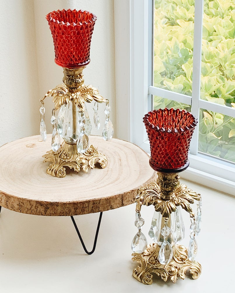 Image of Pair of Ruby Red Vintage Candlestands