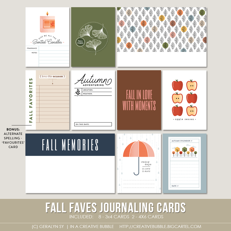 Image of Fall Faves Journaling Cards (Digital)