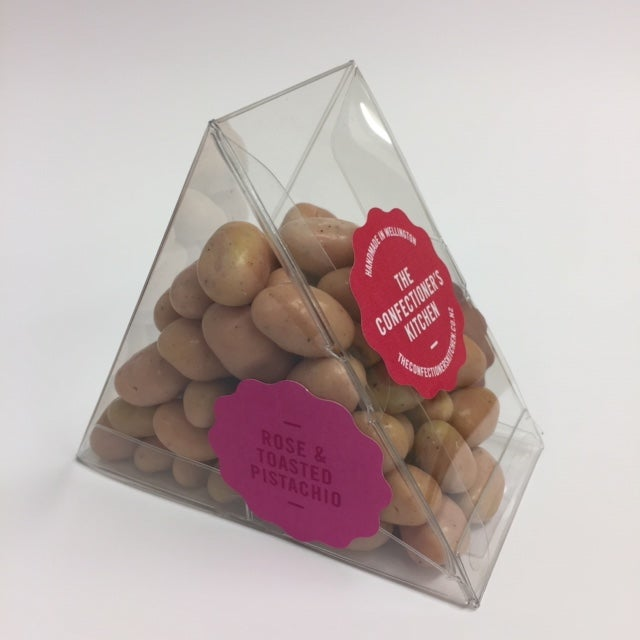 Image of Panned - Toasted Pistachios in Rose White Chocolate