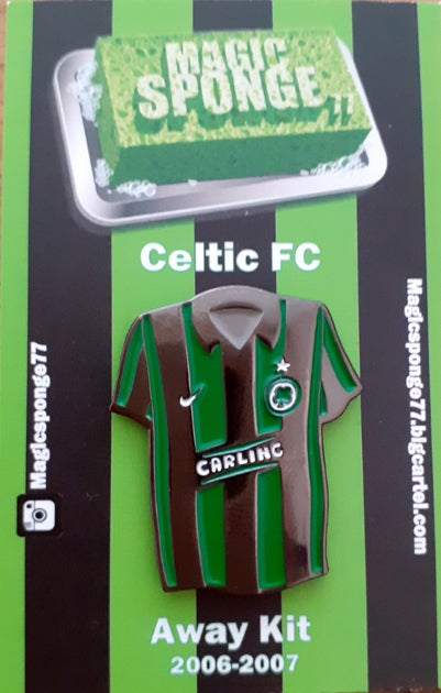 Image of Out Now Classic Celtic FC Green & Black Striped 06-07 Away Kit.
