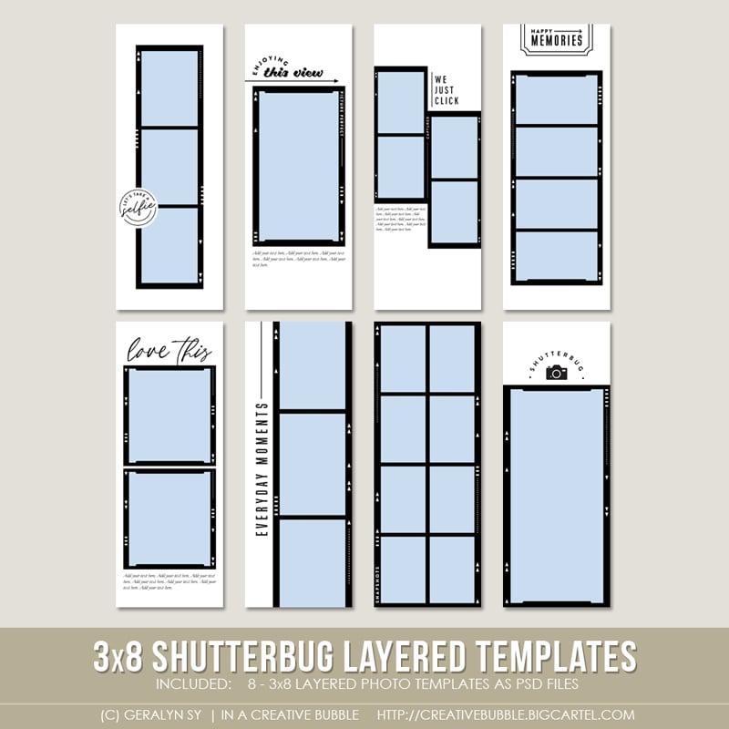 Image of 3x8 Shutterbug Layered Photo Templates (Digital)