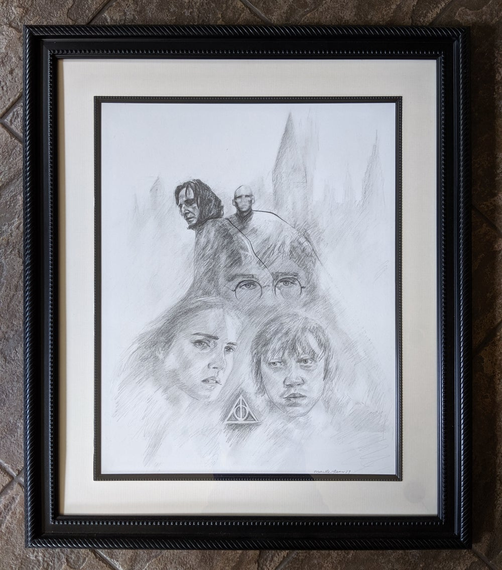 HP7 Deathly Hallows Drawing (Framed)