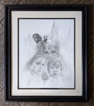 Image of HP7 Deathly Hallows Drawing (Framed)