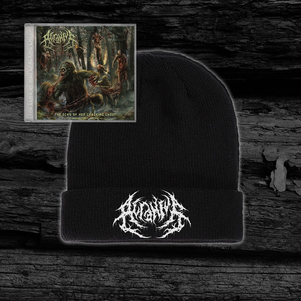 Image of ACRANIUS - The Echo Of Her Cracking Chest [Anniversary Edition] Beanie + CD