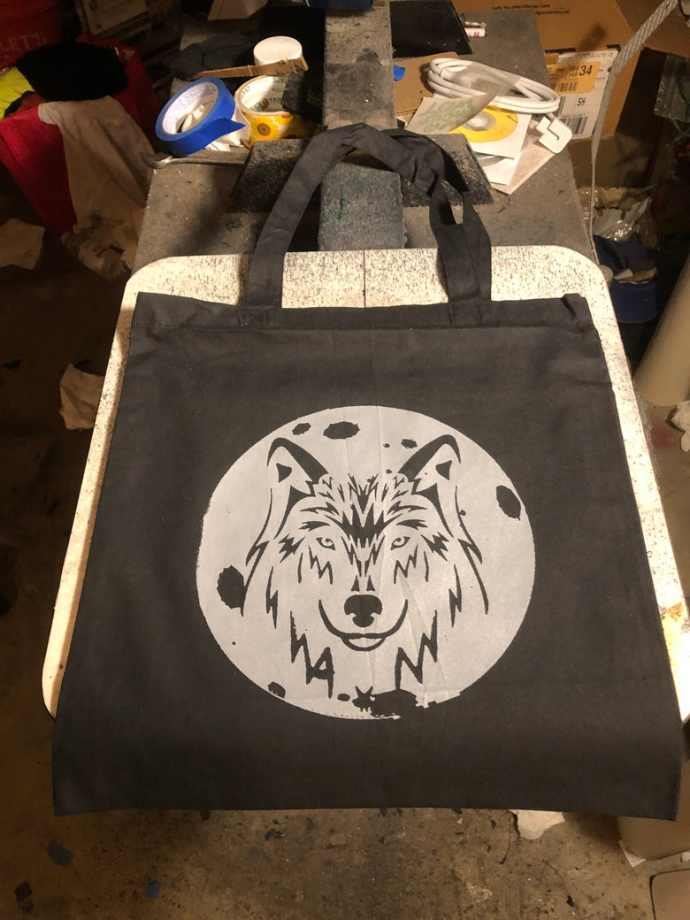 Image of Wolf Moon canvas tote bag