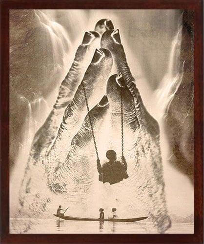 "Image of Digital Photo Art - Swinging into Light - 5x7"" print in 8x10"" white mat"