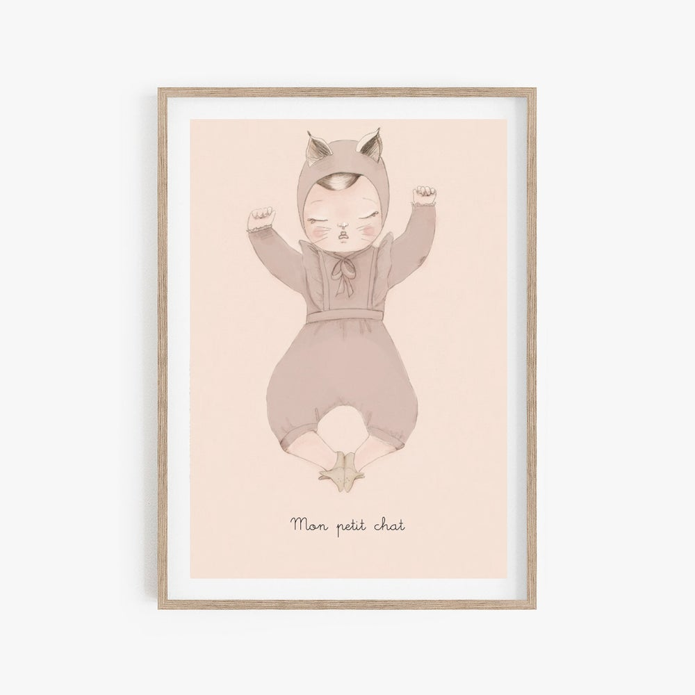 Image of BEBE CHAT fille A4 - option personnalisation -Illustration n°3 imprimée