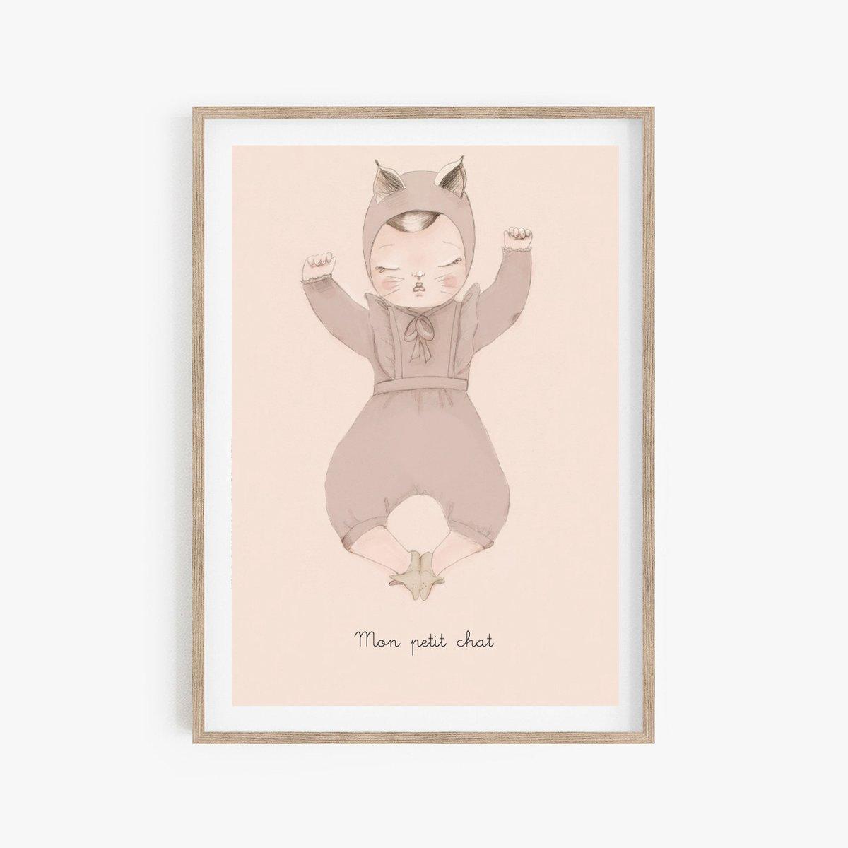 Image of BEBE CHAT fille - Carte postale illustrée n°3 imprimée Edition limitée et numérotée