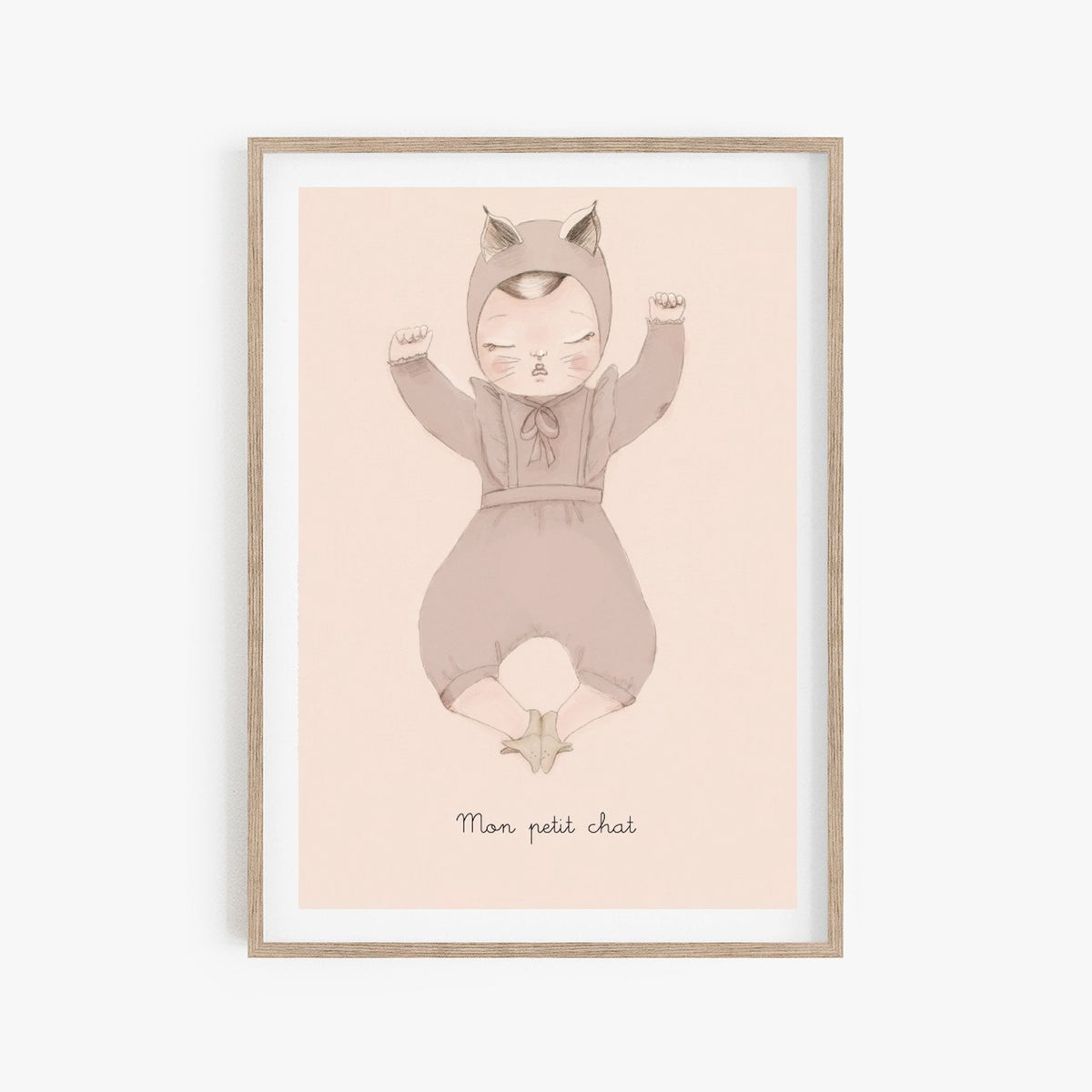 Image of BEBE CHAT fille A3- option personnalisation -Illustration n°3 imprimée