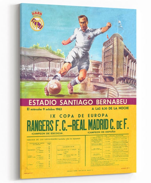 Image of Rangers v Real Madrid - Vintage 1963 Print